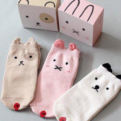 【可愛村】兒童防滑襪 童襪 止滑襪  韓國豆豆動物棉質止滑短襪