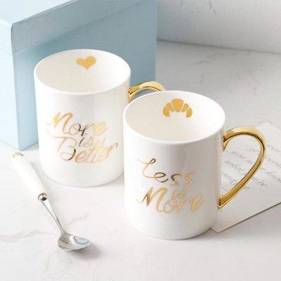 杯子 骨瓷馬克杯愛情面包情侶杯子手工描金邊水杯陶瓷馬克咖啡杯禮盒裝