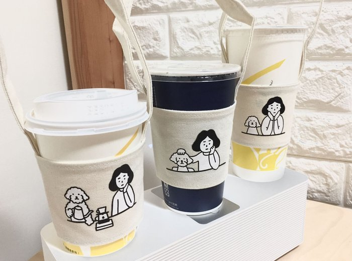 DAFA 文青呆萌系 貴賓狗與我 環保杯套環保手搖飲料提袋咖啡提袋奶茶提袋手搖杯現貨~~