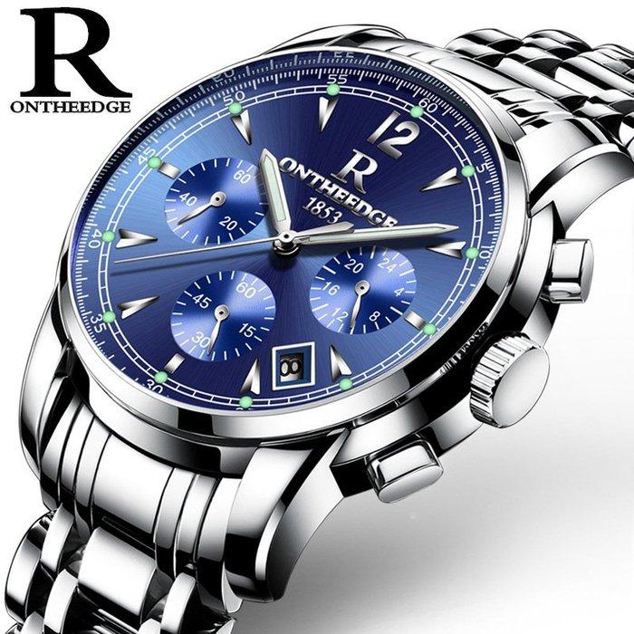 手錶男士非機械錶商務夜光腕錶男錶防水精鋼帶爆款六針多功能