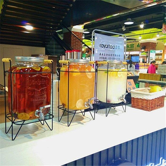 《全館免運 可開發票》無鉛透明家用玻璃果汁罐帶龍頭泡酒瓶5L酵素桶梅森罐密封罐 【FOLLOW ME】