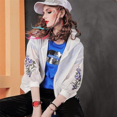 Aimei 歐洲站 長袖刺繡純色連帽防曬衣歐貨運動外套D127 3/25