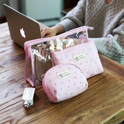 【歡迎比價】可愛少女心旅行化妝包三件套裝 韓國簡約大容量防水透明旅遊洗漱包