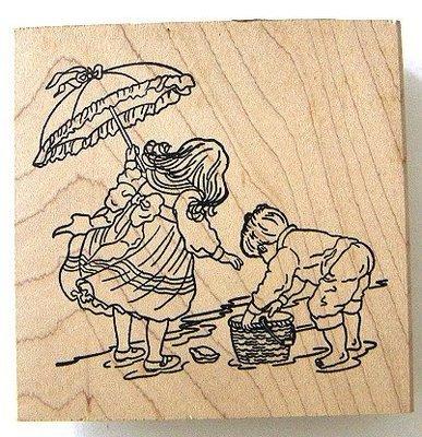 陽光一品DIY卡片印章專賣店~~ HAPPEN木頭印章~ 海邊嬉戲~~# 60006 #~~美國製絕版品
