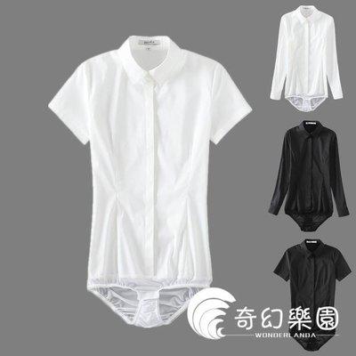 日和生活館 連體襯衫短袖連體襯衫連褲襯衣女OL正裝夏季白色修身顯瘦彈力棉襯衣工裝S686