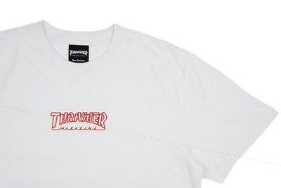 【 K.F.M 】THRASHER HOMETOWN EMB T-Shirt 日本支線 立體電繡LOGO 白色