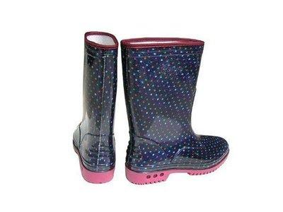 雨鞋 皇力牌-高級彩色女用雨鞋(籃點)台灣製-品質優-批發價【小潔大批發】