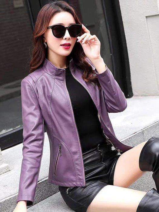 歐美騎士風格真皮棉羊皮軟皮皮衣外套 西裝外套3色 修身版 夾克 灰色 紫色 黑色