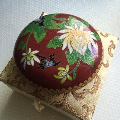 早期收藏-景泰藍 掐絲琺瑯 紅地花鳥粉盒 首飾盒0031[附錦盒]