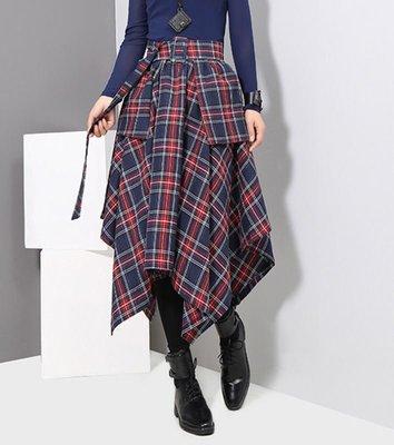 歐美/中大尺碼/格紋/蘇格蘭裙/及膝裙/英倫/龐克#雷米#