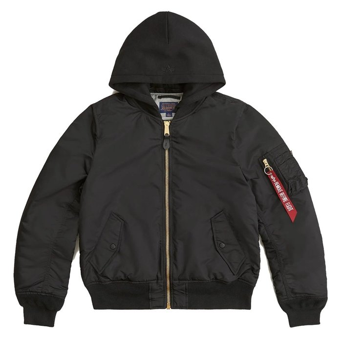【A-KAY0】ALPHA INDUSTRIES 男女 MA-1 NATUS 連帽飛行外套【MJM47506C1BK】