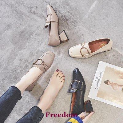 Freedom女鞋潮牌英倫風小皮鞋女2019春夏新款正韓一腳蹬真皮百搭粗跟中跟單鞋