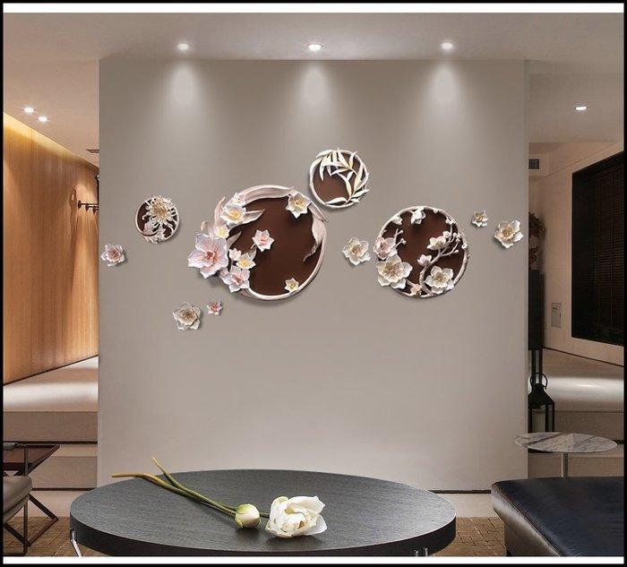 歐式古典風 立體浮雕圓形花卉壁畫壁飾 咖啡色波麗版畫壁畫掛畫 客廳房間餐桌沙發背景主牆面掛飾送禮入厝氣派大方【歐舍傢居】
