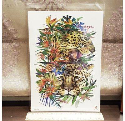 【萌古屋】獵豹與花 - 男女防水紋身貼紙刺青貼紙TH-044