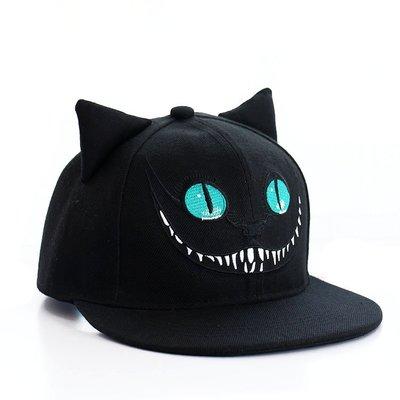 嘻哈帽 呲牙貓帶耳朵棒男女夏春秋天平沿韓版潮 JD371