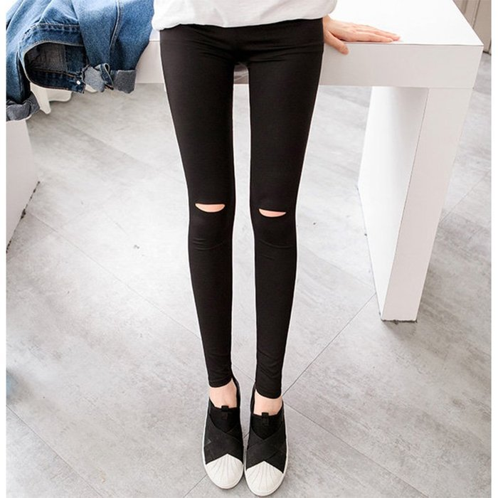 【Hao Da】全館399免運↘「M~XL。現貨」膝蓋破洞 彈力顯瘦內搭褲 (P1102)