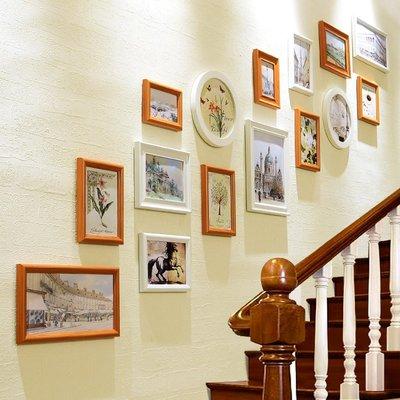 奇奇店-創意樓梯間背景墻面照片墻裝飾畫...