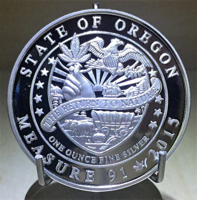 2015 Legalized (State of Oregon) 大麻合法化銀幣-俄勒岡州 (1 toz)