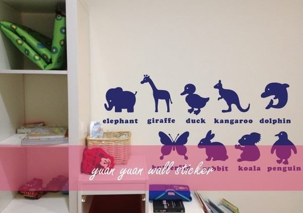 【源遠】寶寶認知學習壁貼(動物篇)【CH-03】(S)壁貼 小孩 聰明 設計 裝潢 廣告 車身貼紙