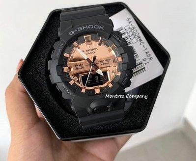 Montres Company香港註冊26年老店 CASIO G-Shock 圈數記憶 200米防水 黑色玫瑰金 超大錶徑 GA-800MMC-1A 有現貨