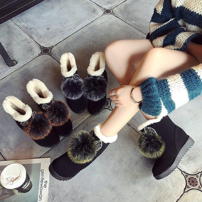 【每日一特價】雪地靴新款兔毛雪地靴平底內增高水鉆耳朵女鞋短靴子大棉鞋韓版磨砂皮潮韓版