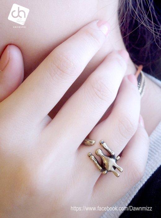 米絲小姐玩時尚 仿古野牛可調式戒指 (韓國製造飾品懷舊個性風古銀刷舊男女用中性時尚流行飾品動物造型指戒ROCK風)
