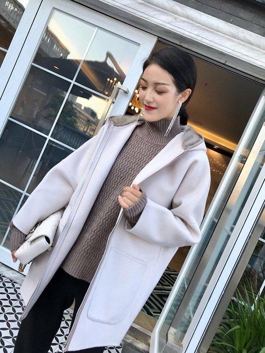 Lp 羊毛掛帽長休閒外套 外套內貂毛