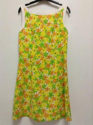 百貨專櫃Cing centimes  無袖白底黃綠橘花短洋裝 L號