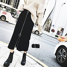 ☆女孩衣著☆2018春裝新款時尚拉鍊半身裙高腰中長款A字裙女胖mm大碼包臀裙子(NO.45)