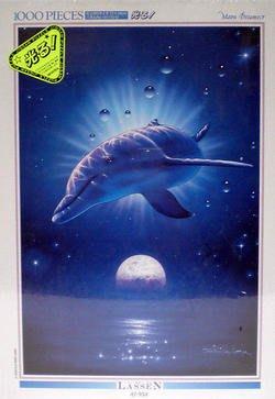 超值特價.日本拼圖 Lassen 海洋 海豚 月光 1000片夜光絕版拼圖,81-934