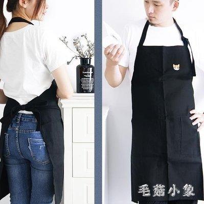 ZIHOPE 北歐棉麻圍裙家用簡約韓版時尚廚房個性男士大人刺繡工作服ZI812