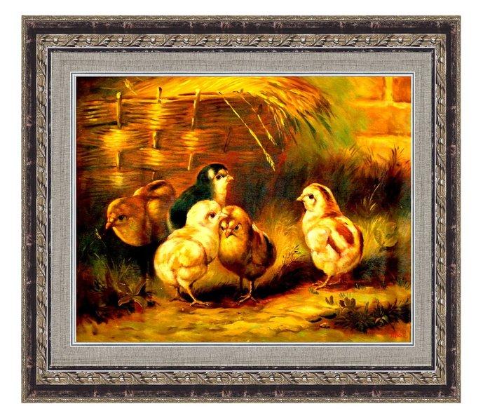 {藝術之都}手繪創作油畫~竹藍邊的五隻小雞~含布架可直接懸掛,已完成作品(實品拍攝)