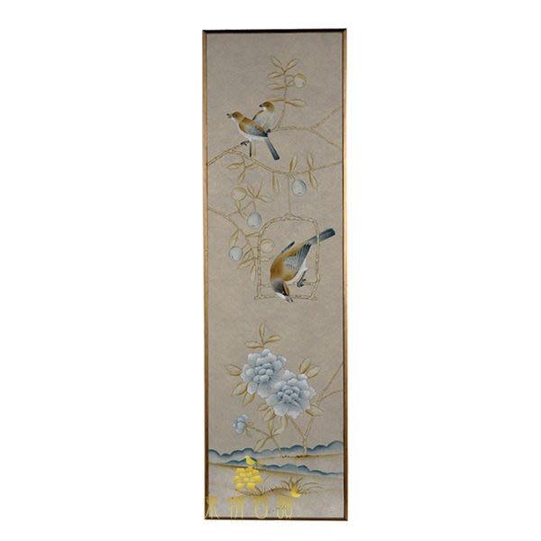 【芮洛蔓 La Romance】東情西韻系列銀色無紡絲手繪花鳥畫飾 無紡花鳥 CHY-046