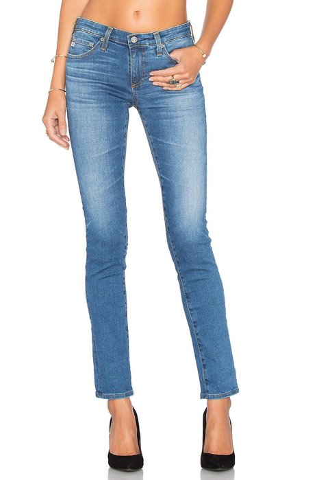 ◎美國代買◎AG the stilt  大腿刷白色偏經典藍色合身顯廋九分款牛仔褲~歐美街風