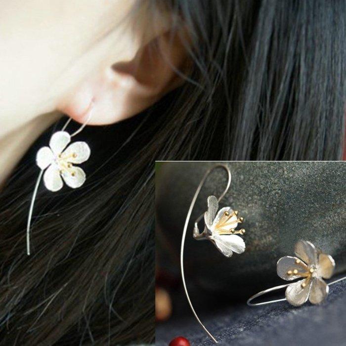 福福百貨~S925純銀浮世繪耳環長款耳墜莫蘭迪色耳釘花朵小眾設計耳飾~