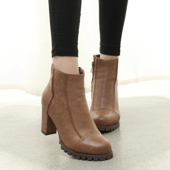 =WHITY=韓國GRAMMI品牌 韓國製  歐美大牌CELIN時尚推薦粗跟美麗踝靴   S5IT798