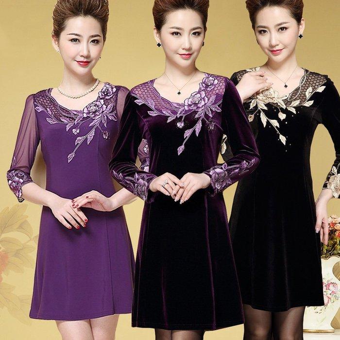 【曼妮婚紗禮服】3件免郵~婚宴婆婆媽媽媒人婆裝高貴典雅修身顯瘦連衣裙~MD140