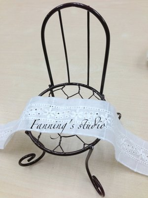 【芬妮卡Fanning服飾材料工坊】夾心小花棉布蕾絲 純白款 1碼入