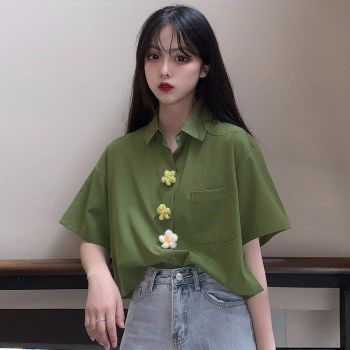 小香風 短袖T恤 時尚穿搭 上衣設計感女小眾polo衫可愛短款夏 韓版 襯衣寬松短袖襯衫