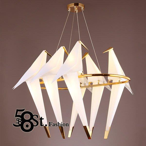 【58街】「LED光源 紙鶴吊燈_6燈款」。複刻版。美術燈。GH-495