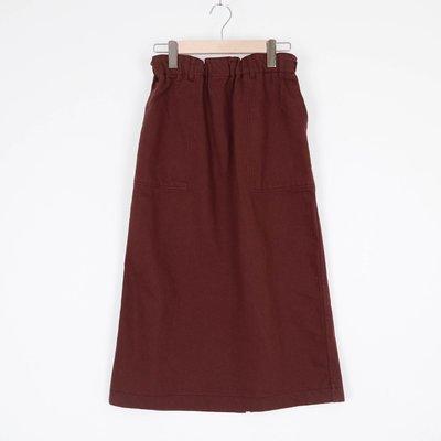 【全新】正韓連線咖啡紅色鬆緊腰圍直身修身顯瘦牛仔長裙 iroo zara gu moma ealove uniqlo