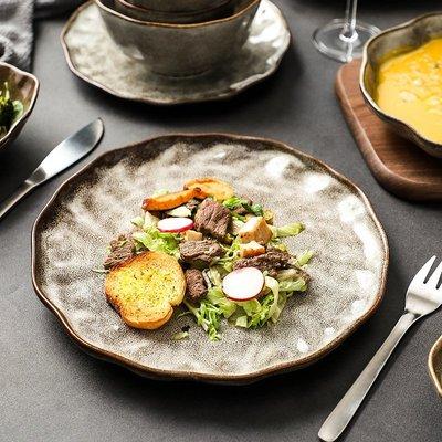 有一間店-日式石紋餐具復古盤子個性創意餐盤意面盤牛排盤老式粗陶餐具(規格不同 價格不同)