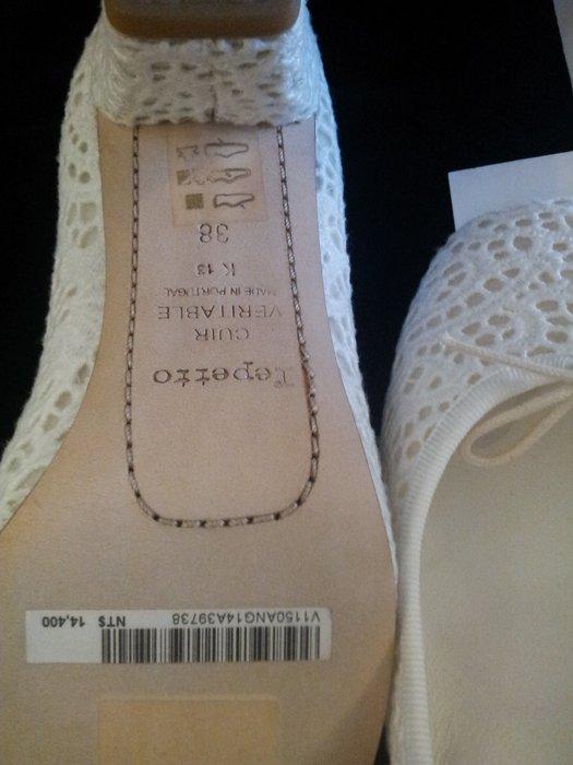 全新附鞋盒repetto 白色蕾絲經典蝴蝶結高跟鞋