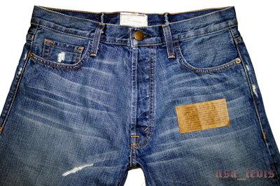 高價手工275美金現貨31腰賠售USA製 CURRENT/ELLIOTT 後束帶深藍水洗直筒牛仔褲【美國LEVIS專賣】