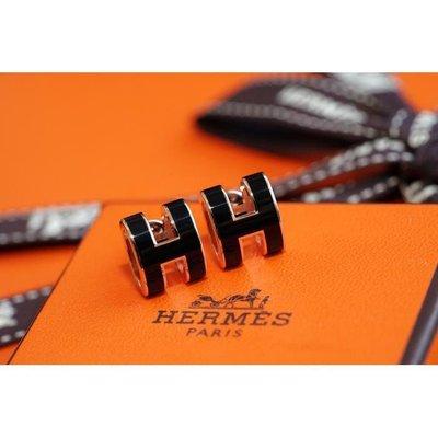 全新正品Hermes Boucles Oreilles Pop H Plaque H 耳環 黑/玫瑰金