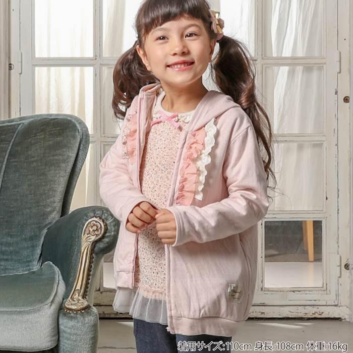 日本童裝 biquette  碎花蕾絲連帽外套 雙層綿  #120#130 日本空運~小太陽日本精品