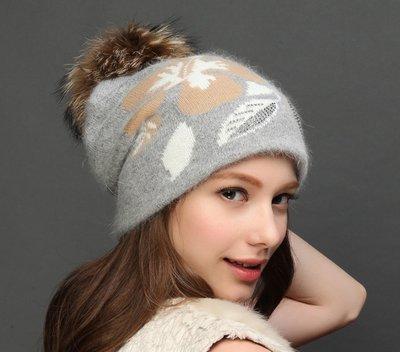 SR 保暖兔羊毛混紡 精美緹花手工燙鑽貉子毛球帽 毛呢帽 針織帽  毛線帽 毛帽+圍巾 2件套 4色