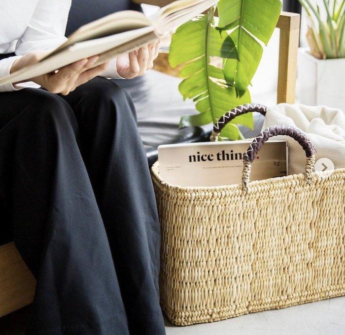 發現花園生 日本選物~日本 松野屋  皮革手把  編織提籃    手提籃~M號