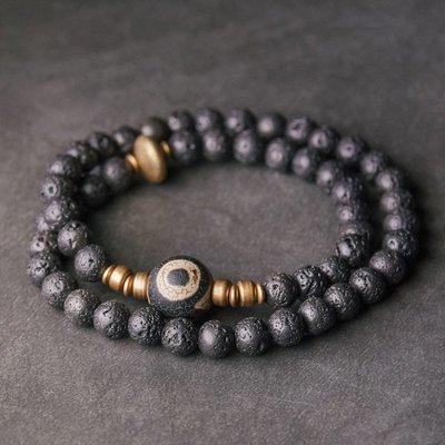 YouDo wh 原創設計黑色火山石雙層手鏈男復古天珠子手串休閑手飾配飾潮