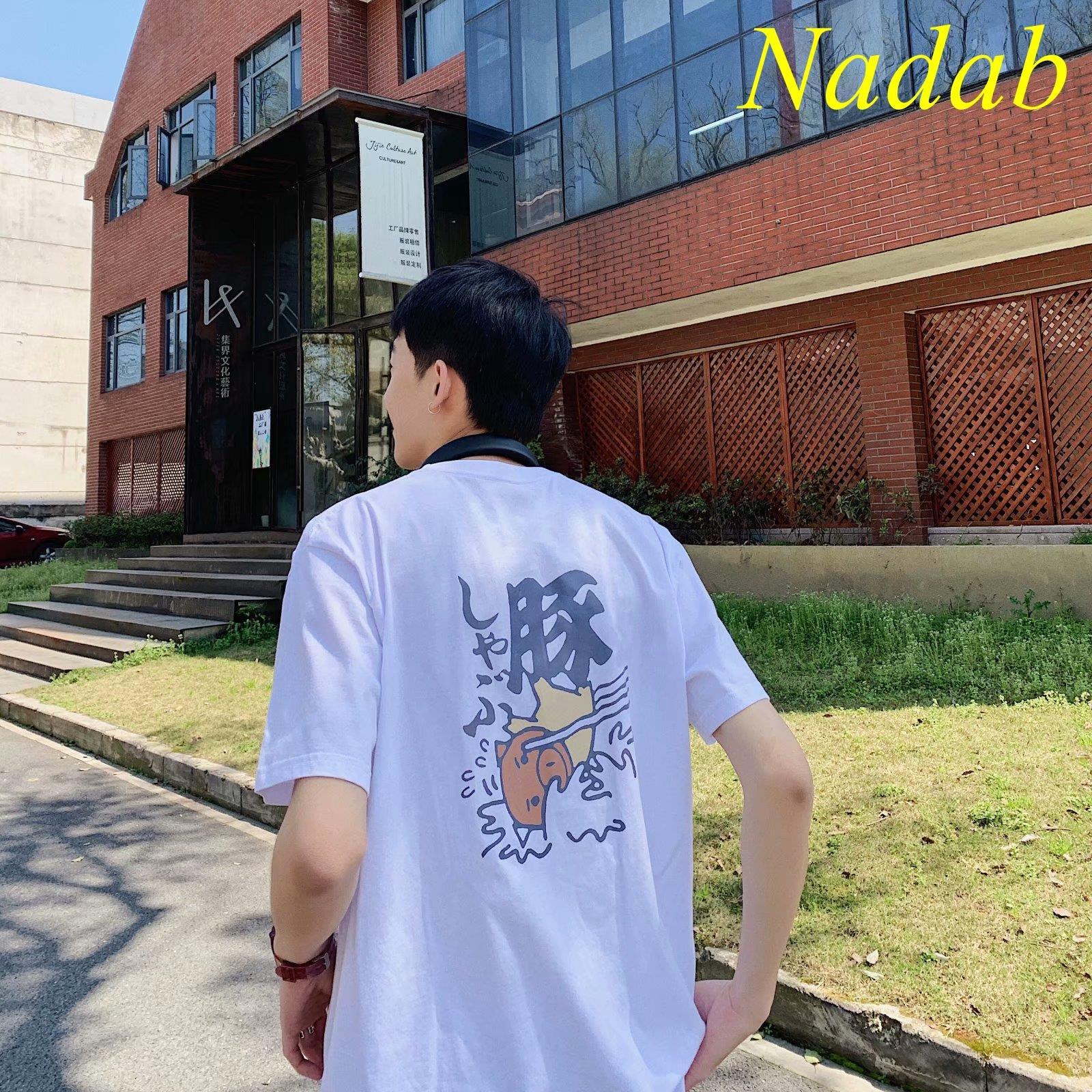 【Nabad】五分袖T恤男韓版潮流OVERSIZE半袖BF男士港風寬松潮牌INS短袖體桖